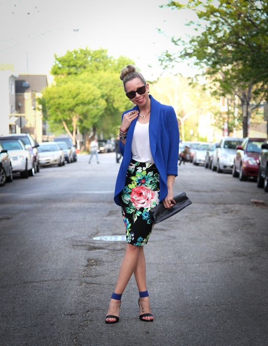 Miss Renaissance Floral Pencil Skirt Outfit Post