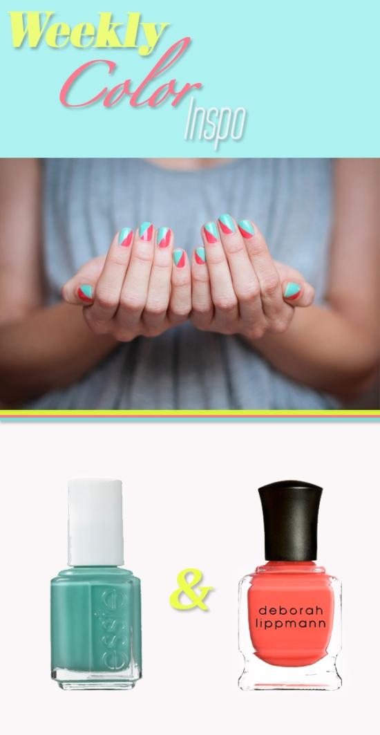 Miss Renaissance Coral & Mint Stripe Manicure