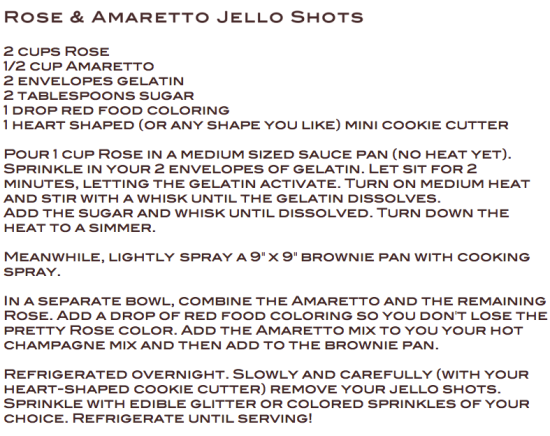 Rose Amaretto Jello Shots by Miss Renaissance